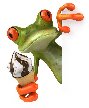 아이스크림과 함께 만화 개구리 스톡 콘텐츠