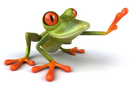 Cartoon frog is posing