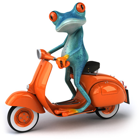 Cartoon frog on a scooter