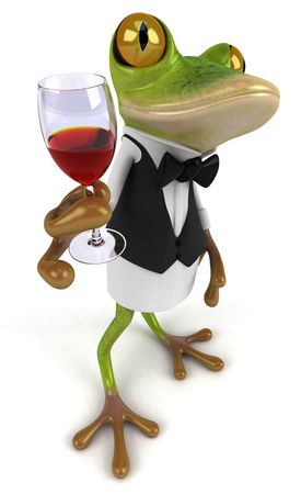 croaking: Cartoon frog as a waiter holding wine glass