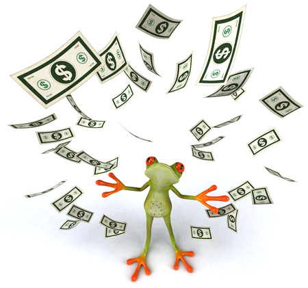 digitally generated image: Cartoon frog with money