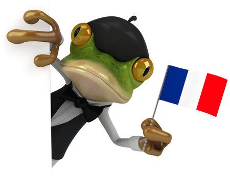 Cartoon frog as waiter holding France flag Stock Photo