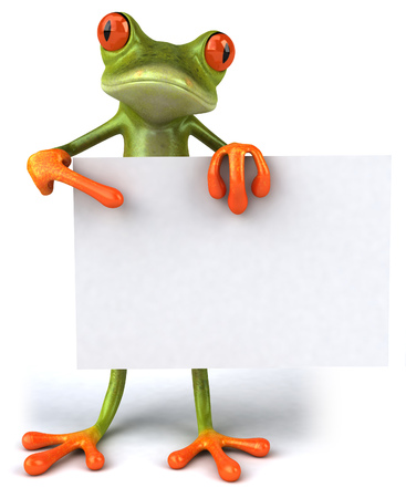 croaking: Cartoon frog with a placard Stock Photo