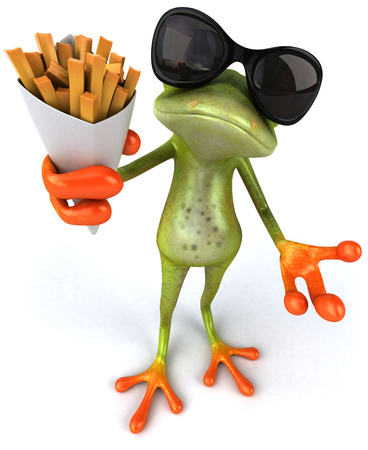 Cartoon frog with sunglasses holding french fries