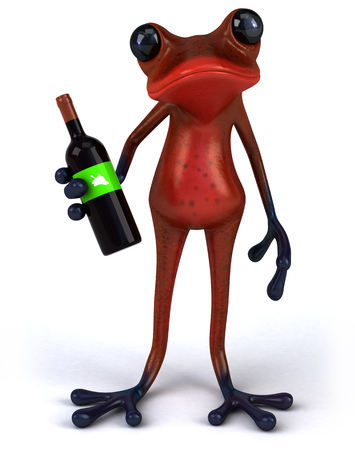 Cartoon frog with a wine bottle