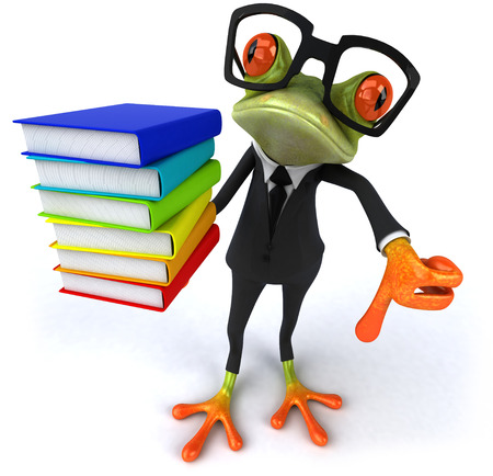 Cartoon frog in a suit holding books Stock Photo