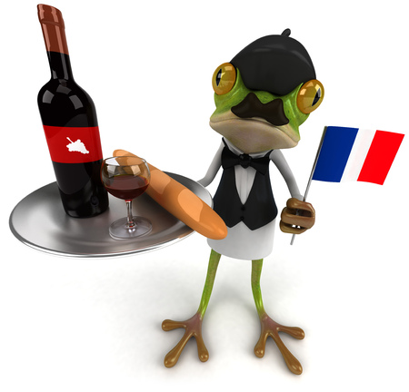 digitally generated image: Cartoon frog as a waiter serving while holding flag of France