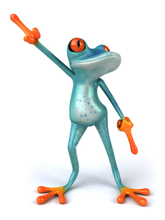 computer dancing: Cartoon frog is dancing Stock Photo