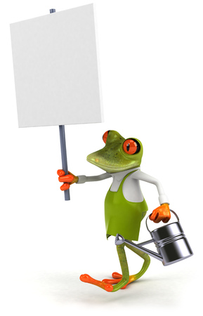 croaking: Cartoon frog with watering can and signboard Stock Photo