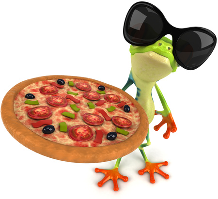 Cartoon kikker met zonnebril en een pizza te houden