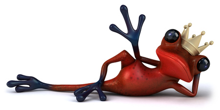 Cartoon frog with a crown relaxing Stock Photo