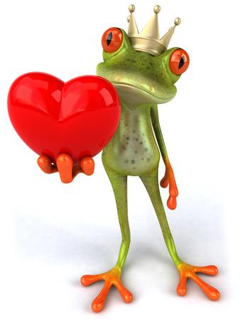 Cartoon frog with crown holding heart shape Фото со стока