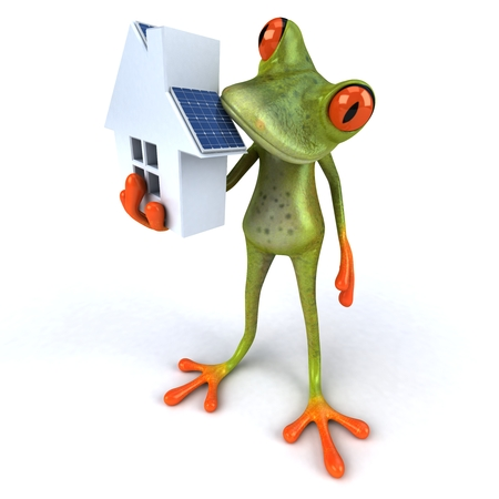 croaking: Cartoon frog with solar panel house Stock Photo