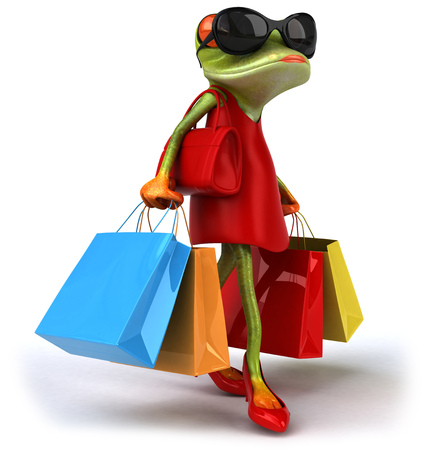 croaking: Cartoon frog in a dress and high heels with shopping bags