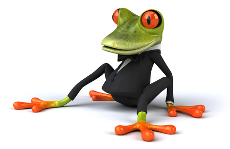 Cartoon frog in a suit is sitting down
