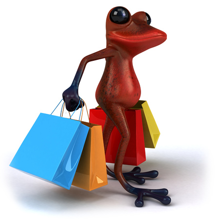 croaking: Cartoon frog with shopping bags
