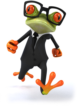 croaking: Cartoon frog in a suit with glasses Stock Photo
