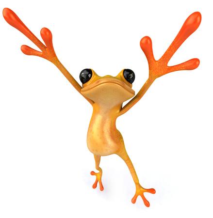 Cartoon frog is dancing Stock Photo