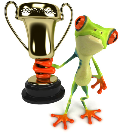croaking: Cartoon frog is holding a trophy