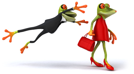 digitally generated image: Cartoon couple of funny frogs
