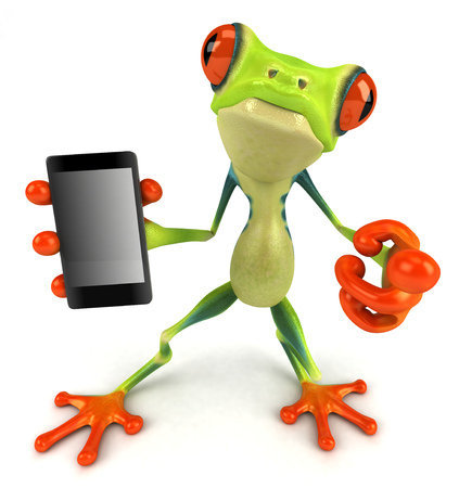 Cartoon frog with a smartphone