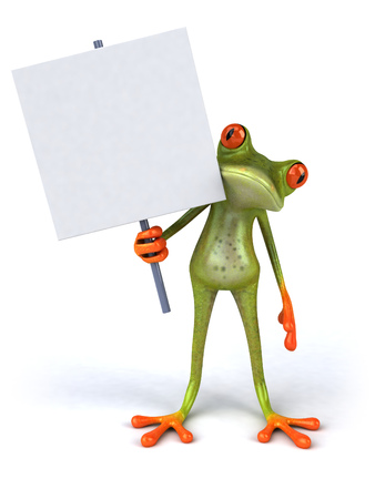 Cartoon frog with a signboard