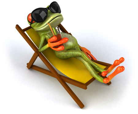 Cartoon frog relaxing on a deckchair with a drink