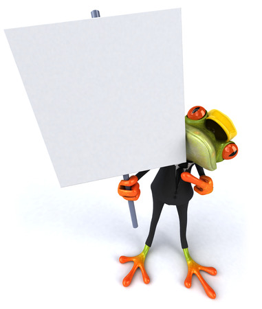 Cartoon frog in a suit with safety hat holding a signboard