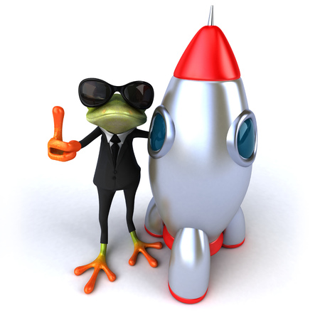 digitally generated image: Cartoon frog in a suit with space shuttle
