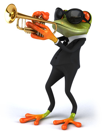 croaking: Cartoon frog in a suit playing trumpet