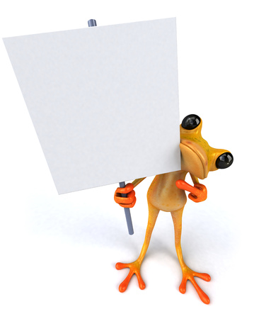 Cartoon frog with signboard