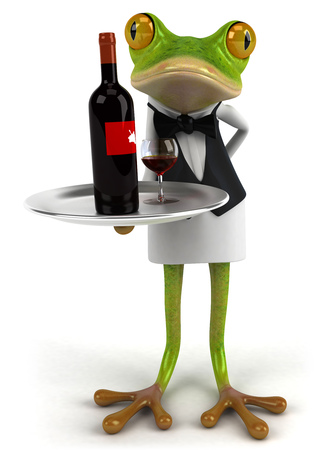 Cartoon frog as waiter serving wine Stock Photo