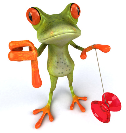 Cartoon frog with a yoyo showing thumbs down Stock Photo