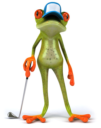 Cartoon frog with a cap with golf club