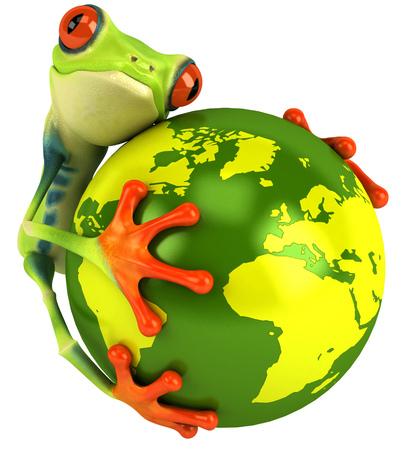 croaking: Cartoon frog with holding earth globe Stock Photo