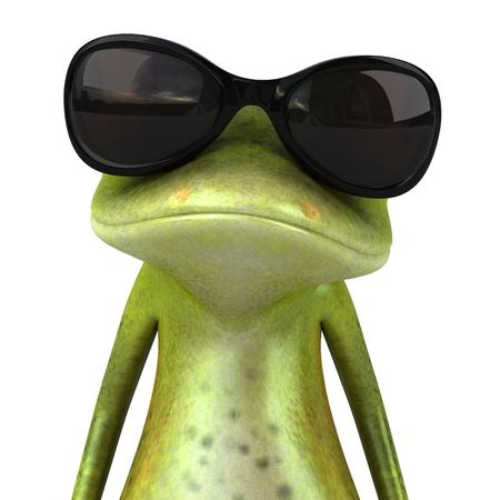 선글라스가 달린 만화 개구리
