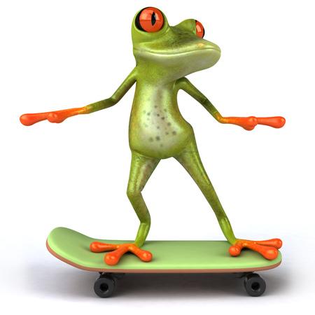 Cartoon frog on a skateboard