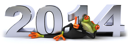 Cartoon frog in a suit with 2014 Stock Photo