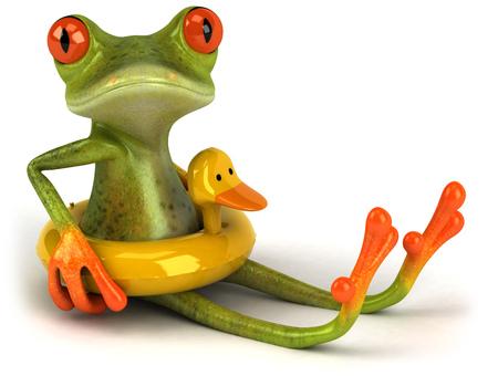 Cartoon frog with duck float