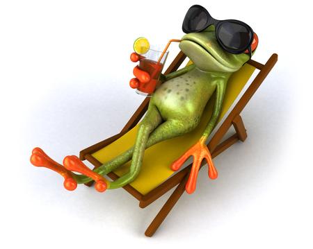 Karikaturfrosch, der auf einem deckchair mit einem Getränk sich entspannt