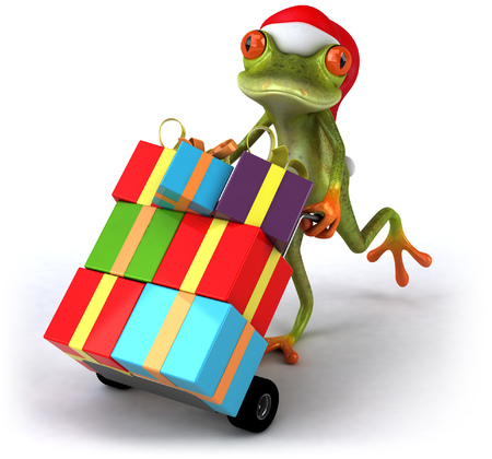 Cartoon frog with Santa hat pushing trolley with gift boxes