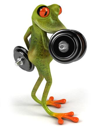 Cartoon frog lifting weights