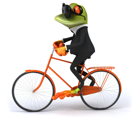 Cartoon frog in a suit on a bicycle Stok Fotoğraf