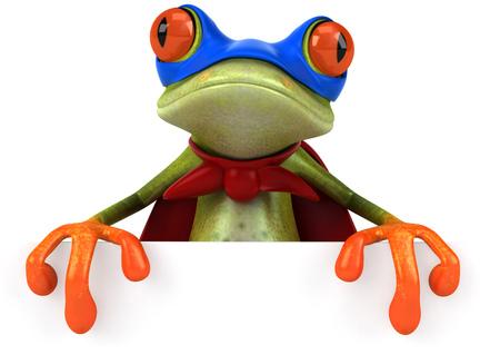 Cartoon frog with superhero costume