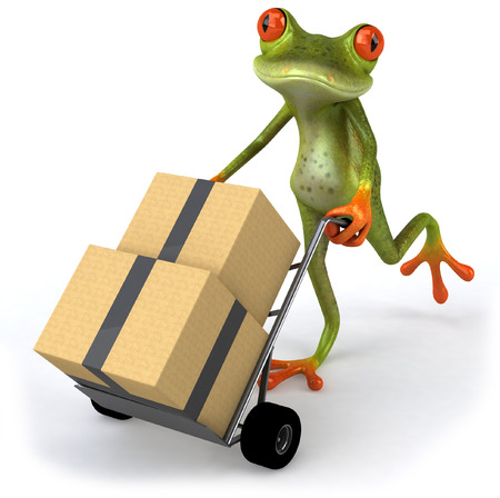 croaking: Cartoon frog pushing trolley with boxes