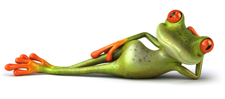 Cartoon frog relaxing Stock Photo