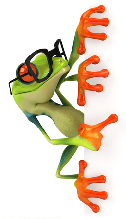 digitally generated image: Cartoon frog with glasses Stock Photo