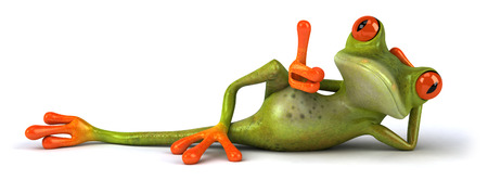 lie down: Cartoon frog relaxing Stock Photo