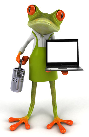 Cartoon frog with watering can and laptop