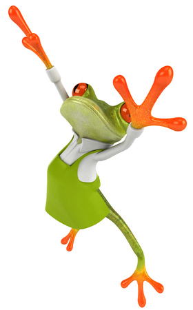 Cartoon frog with gardening apron Stock Photo